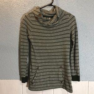 Simons Twik Cowl Neck Sweater Aztec Print Green XS